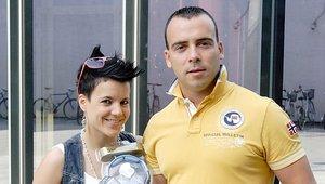 Zmagovalec natečaja Pogon na adrenalin Marjan Glasnovič je nagrado prevzel s svojo punco Natašo Kirn.