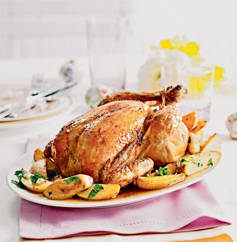 piščanec z limono in krompirjem s petršiljem