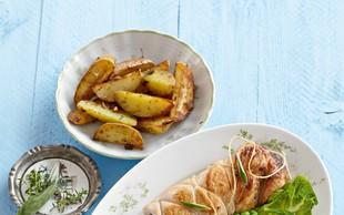 Puranji zvitki z grahom in pečenim krompirjem