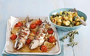 Pečena riba s špinačnim krompirjem