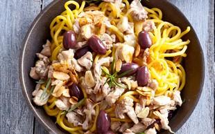 Špageti z zajcem in olivami